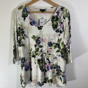 J Jill Cream Floral V-Neck Tunic Top 3/4 Sleeves